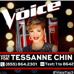 Photo of Tessanne Chin with voting info for Voice Finals