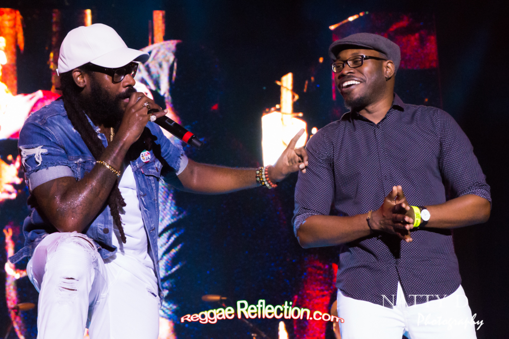 Tarrus Riley introduces keyboardsist and singer Chris Smith to the stage